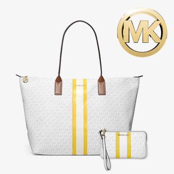 Michael Kors Logo Stripe Tote & Wristlet Bag Set